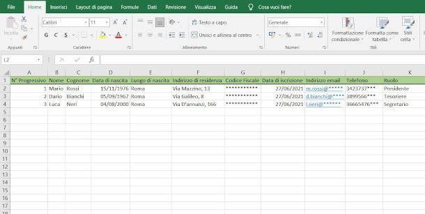 Libro Soci in Excel