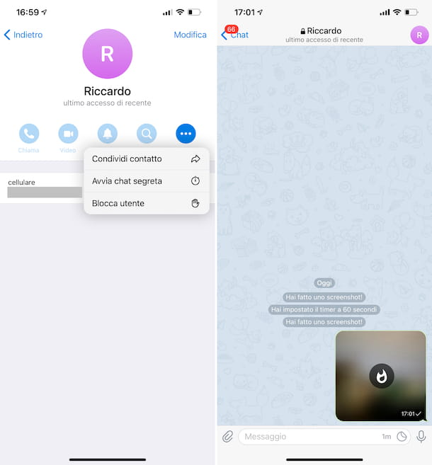 Chat segreta Telegram iPhone