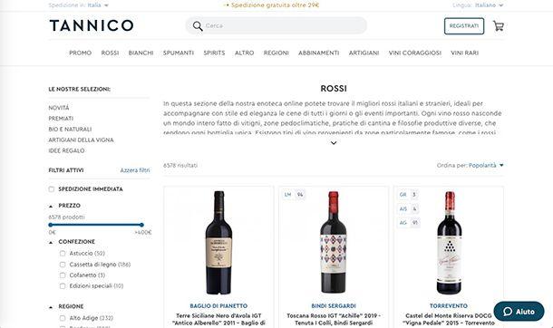 Migliori ecommerce Italia Tannico