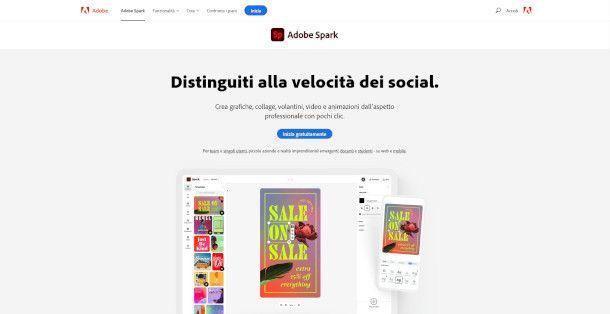 Pagina principale di Adobe Spark