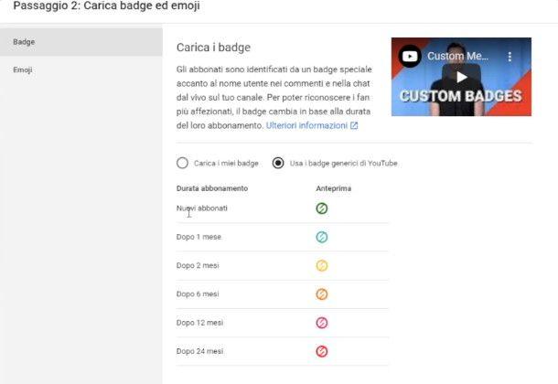 Impostazione badge e emoji su YouTube Studio