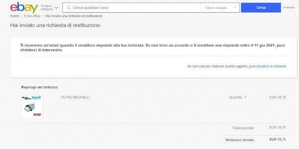 richiesta annullamento reso ebay