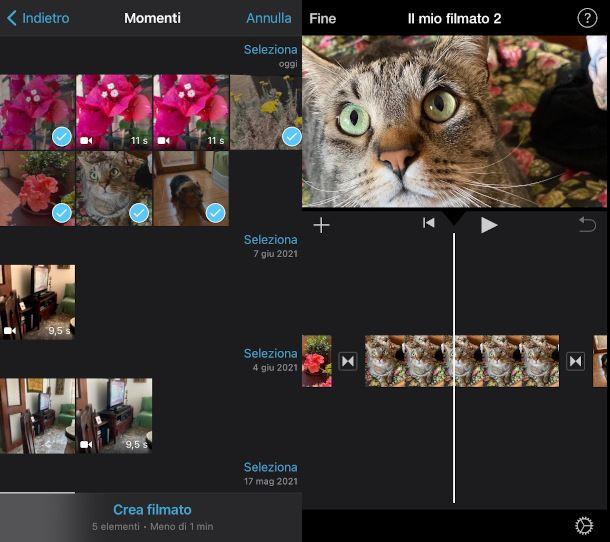 come creare video con foto iMovie iPhone