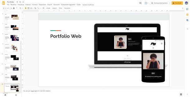 Schermata di Google Presentazioni