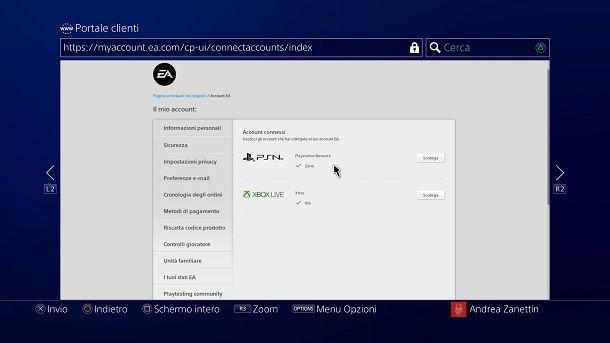 Cambiare account EA Account PlayStation 4
