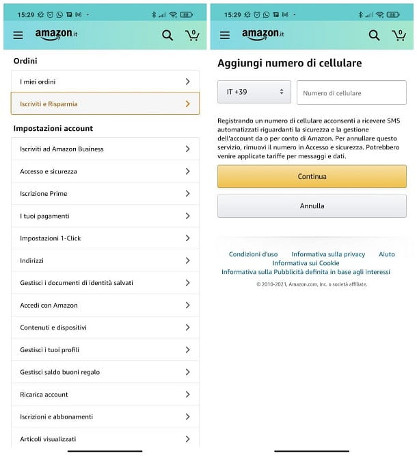 Come cambiare numero di telefono su Amazon
