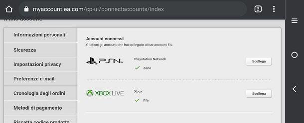 Come cambiare account EA FIFA dispositivi mobili