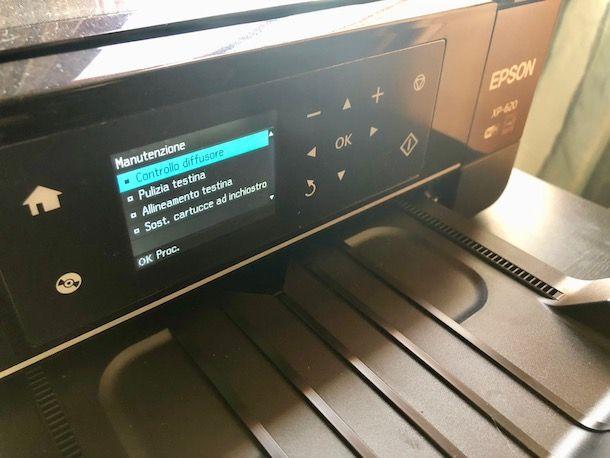 Come pulire gli ugelli della stampante: pannello di controllo