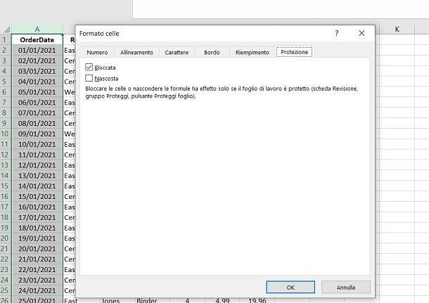 Come bloccare valori colonna Excel
