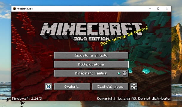 Menu Minecraft Java