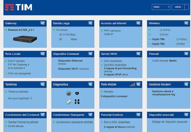 Pagina di gestione del modem TIM accessibile da browser