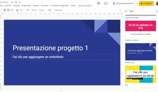 cambiare tema presentazione Google