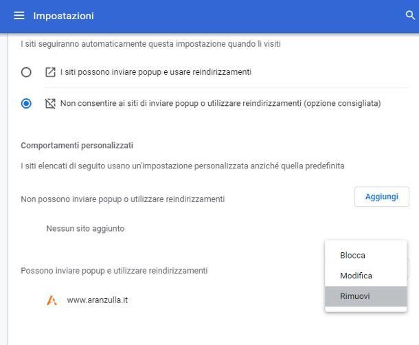 Come disattivare popup su Chrome