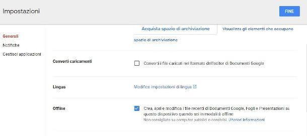 modalità offline Google Drive