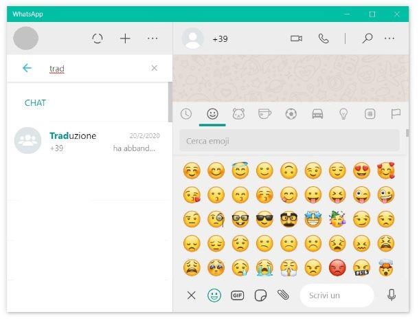 WhatsApp Desktop emoji