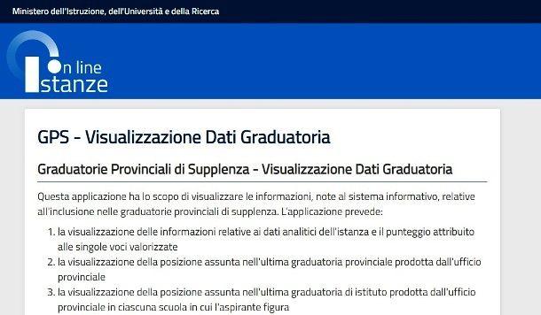Visualizza dati Istanze Online