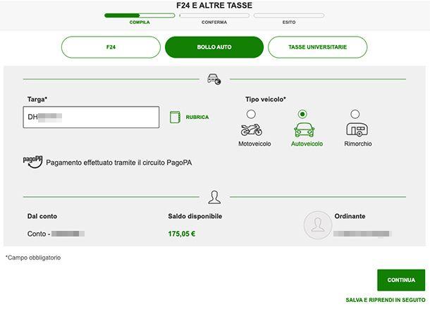 Pagare bollo online con Home Banking