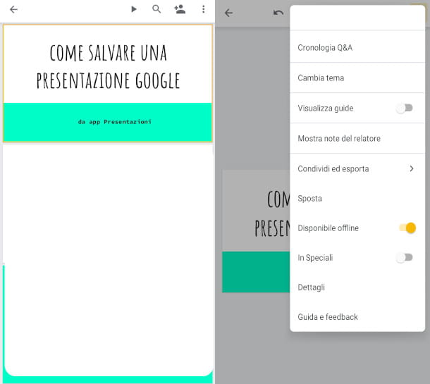 app presentazioni google modalità offline
