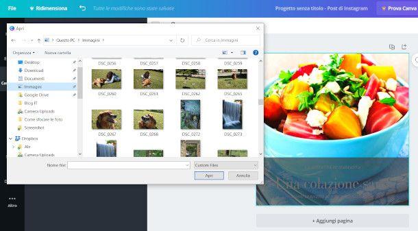 caricamento immagine da computer su Canva per PC