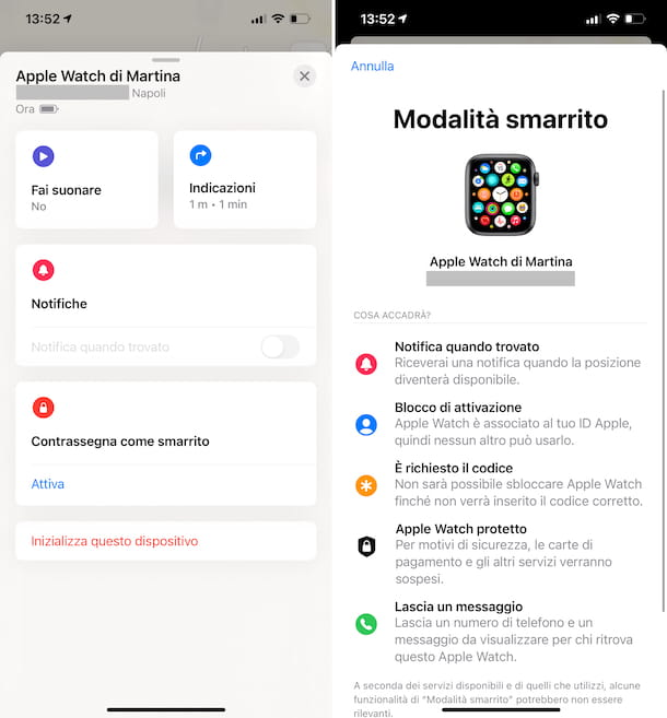 Apple Watch modalità smarrito