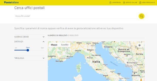 Poste Italiane Cerca uffici postali