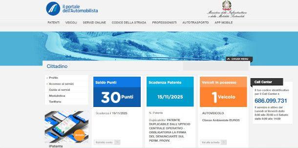 home page portale automobilista