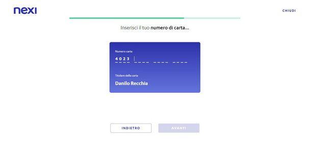 Inserire il numero carta nella registrazione via Web di Nexi Pay