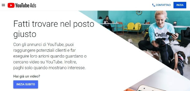 Home page di YouTube Ads