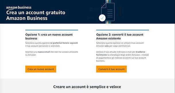 Come funziona Amazon Business iscrizione