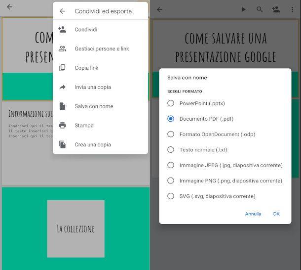 esportazione presentazione google in pdf