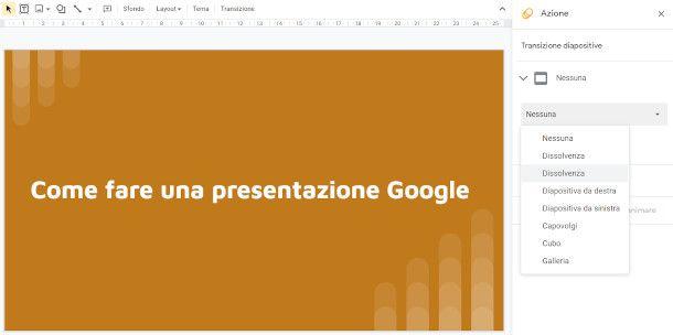 Effetti transizione Google Presentazioni
