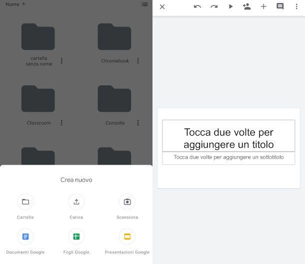 Nuova presentazione Google da app Drive