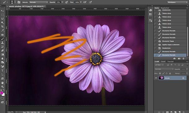 Come togliere scarabocchi dalle foto con timbro clone Photoshop