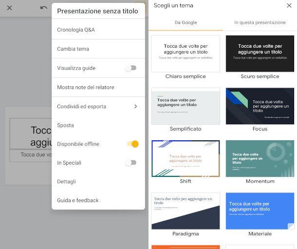 Cambia tema presentazioni Google