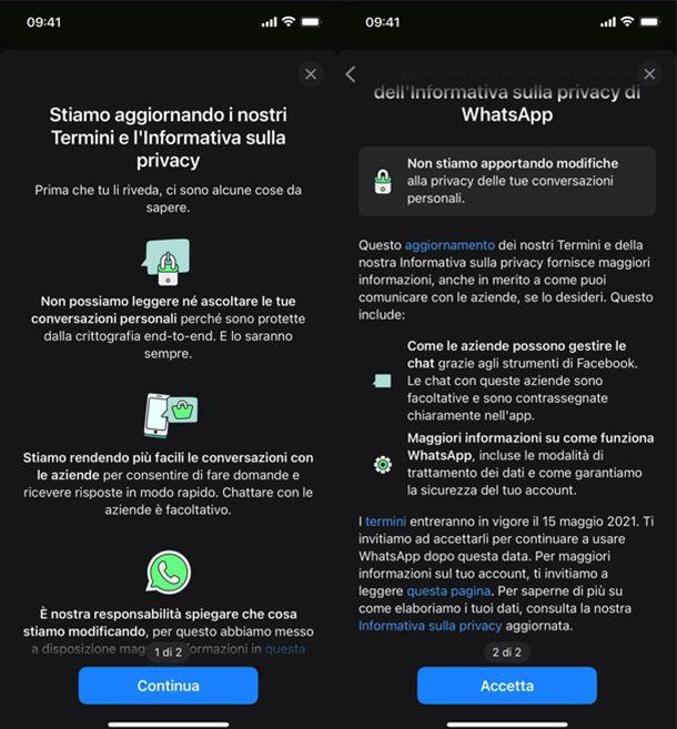 Come accettare termini privacy WhatsApp