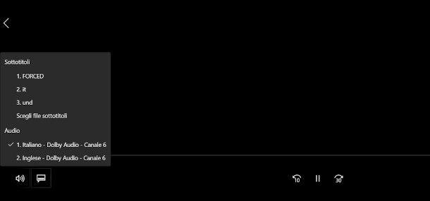 funzioni attivazione sottotitoli player Windows