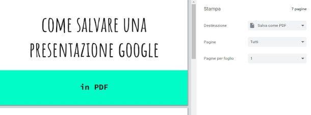 salvare presentazione google inPDF da stampa