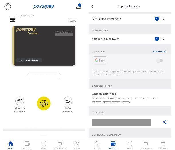 Abilitare una carta sull'app Postepay
