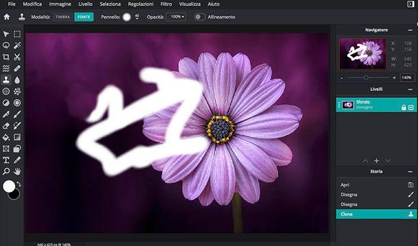 Come togliere scarabbocchi dalle foto con Pixlr
