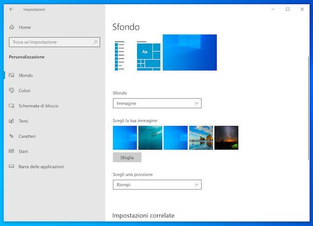Sfondo desktop Windows 10