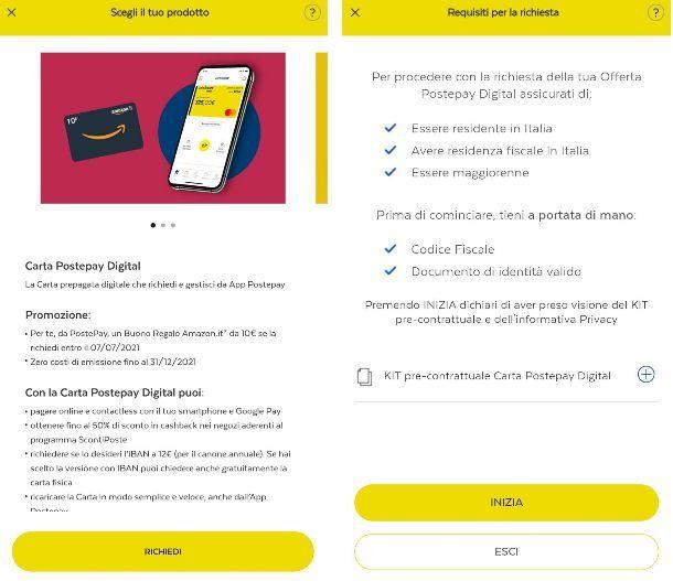 Richiedere Postepay su app