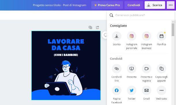 Canva online esportazione Instagram