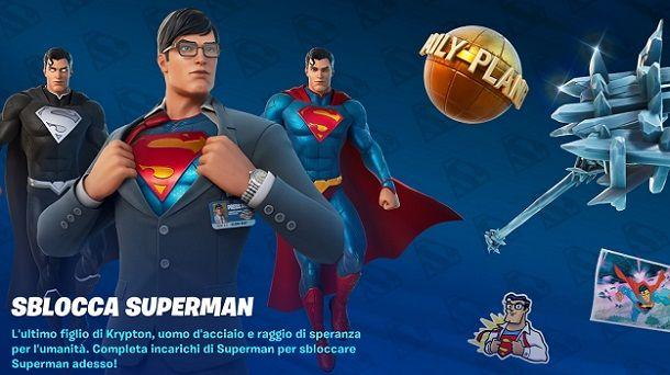 Schermata sblocco Superman Fortnite