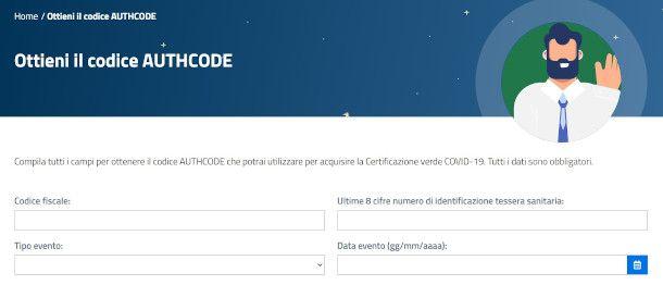 schermata authcode green pass