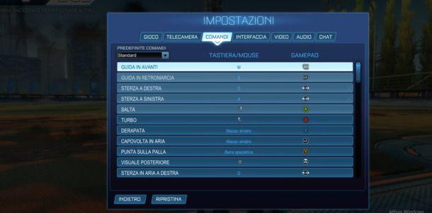 menu controller rocket league
