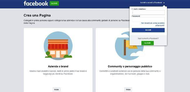 Creare pagina Facebook senza profilo
