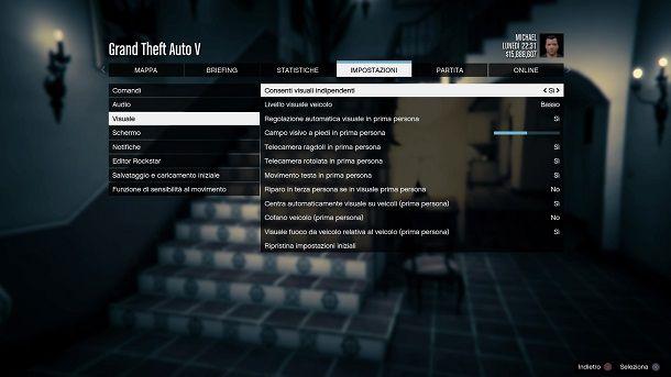 Consenti visuali indipendenti GTA 5 prima persona