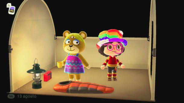 Interno di un accampamento in Animal Crossing: New Horizon