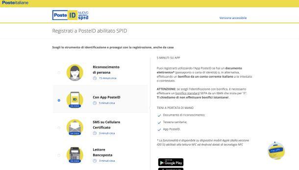 Registrati a PosteID abilitato SPID