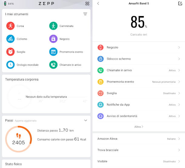verifica batteria smartwatch app zepp